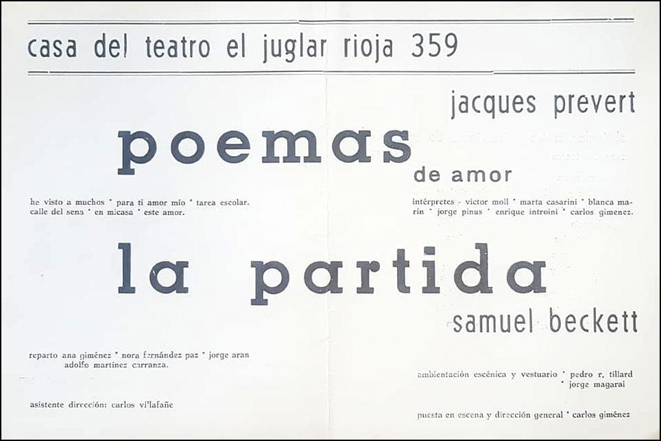 POEMAS DE AMOR, de Prévert. Dirección Carlos Giménez, Grupo El Juglar, Córdoba, 1966