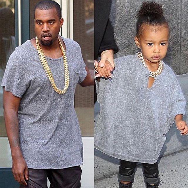 kanye west daughter North west dresses like him