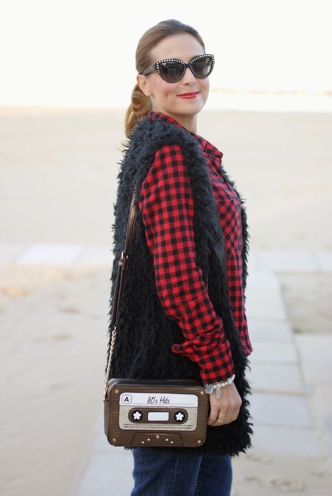 Buffalo plaid shirt, Moschino 30 year anniversary sunglasses, Fashion and Cookies, fashion blogger, chelsea boots