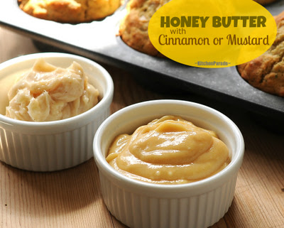 Honey Butters with Mustard (front) or Cinnamon (back)