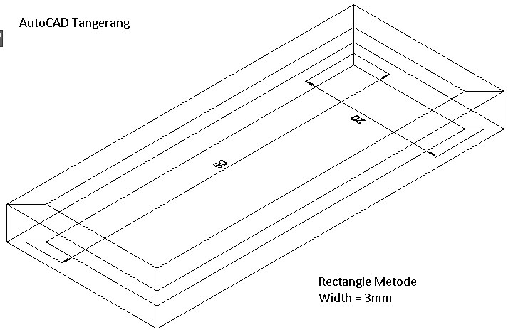 Rectangle Dengan Elevation,Thickness dan Width pada AutoCAD.