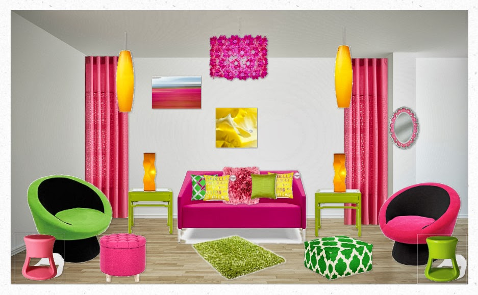This Room Is Called A Split Complementary In I Put Three Different Colors Green Pink And Yellow These Are Next To Triad On