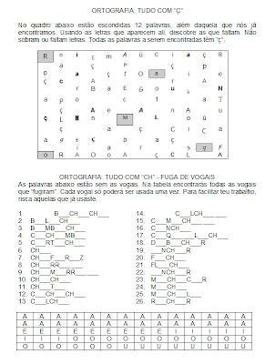Atividades de Ortografia: CH, S, H, Z, Ç, X,ortografia,anos iniciais,alfabetização letras,1º ano,ensino fundamental,atividade para imprimir