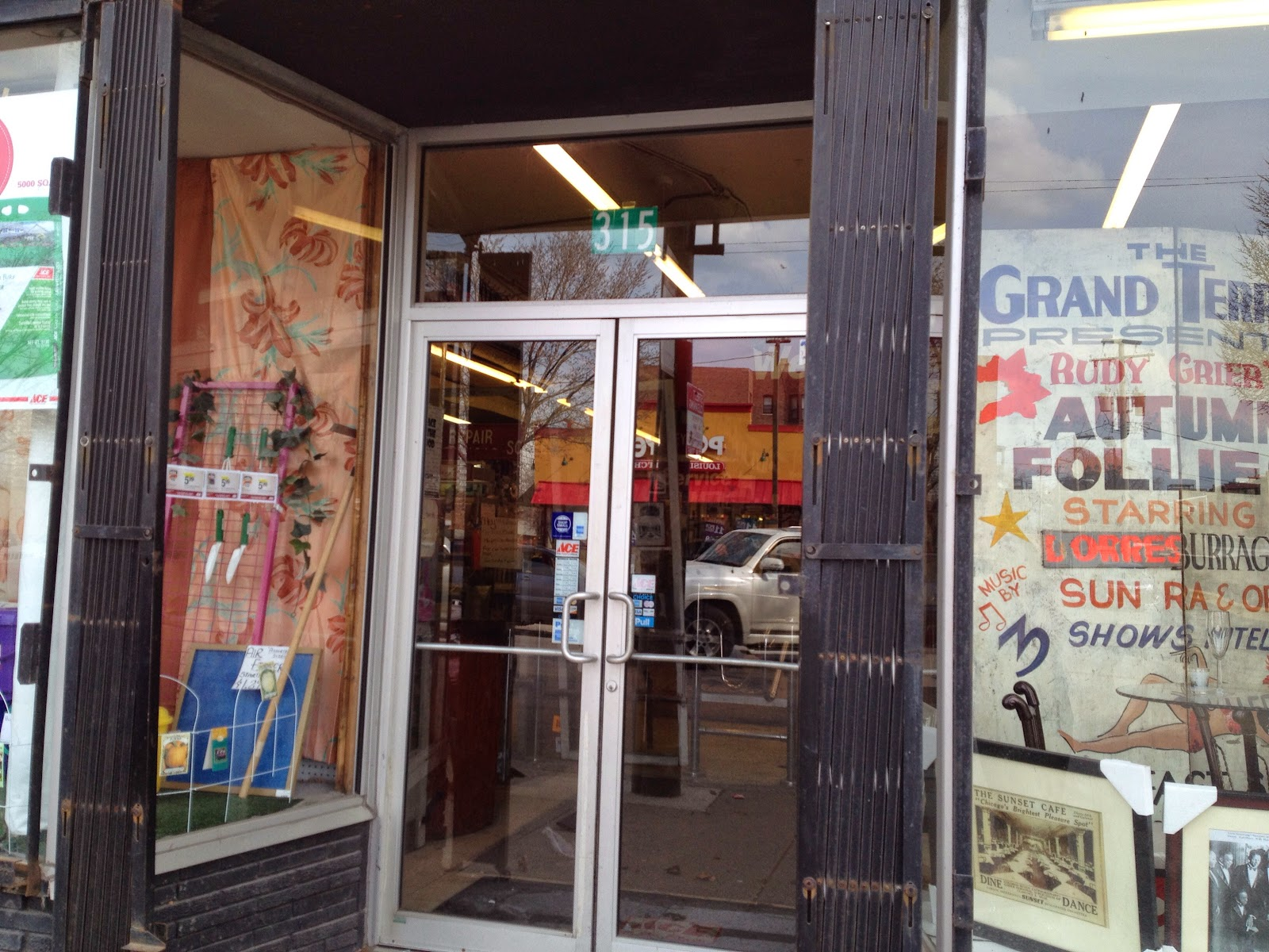The Grand Terrace Sign in window of current Ace Hardware 315 East 35th Street Bronzeville