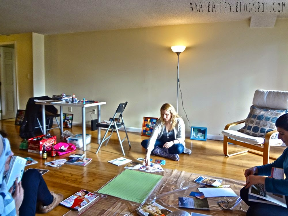 Craft Club: Making collages with friends in the living room