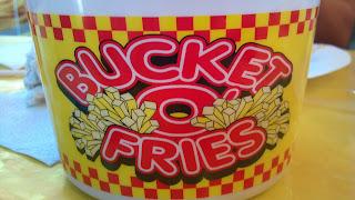 plastic bucket of fries