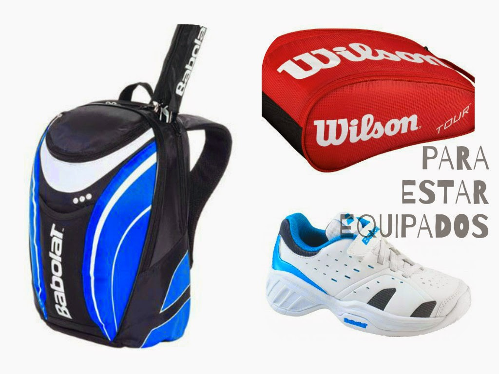 raquetero de tenis, braga de cabeza y zapatillas para tenis