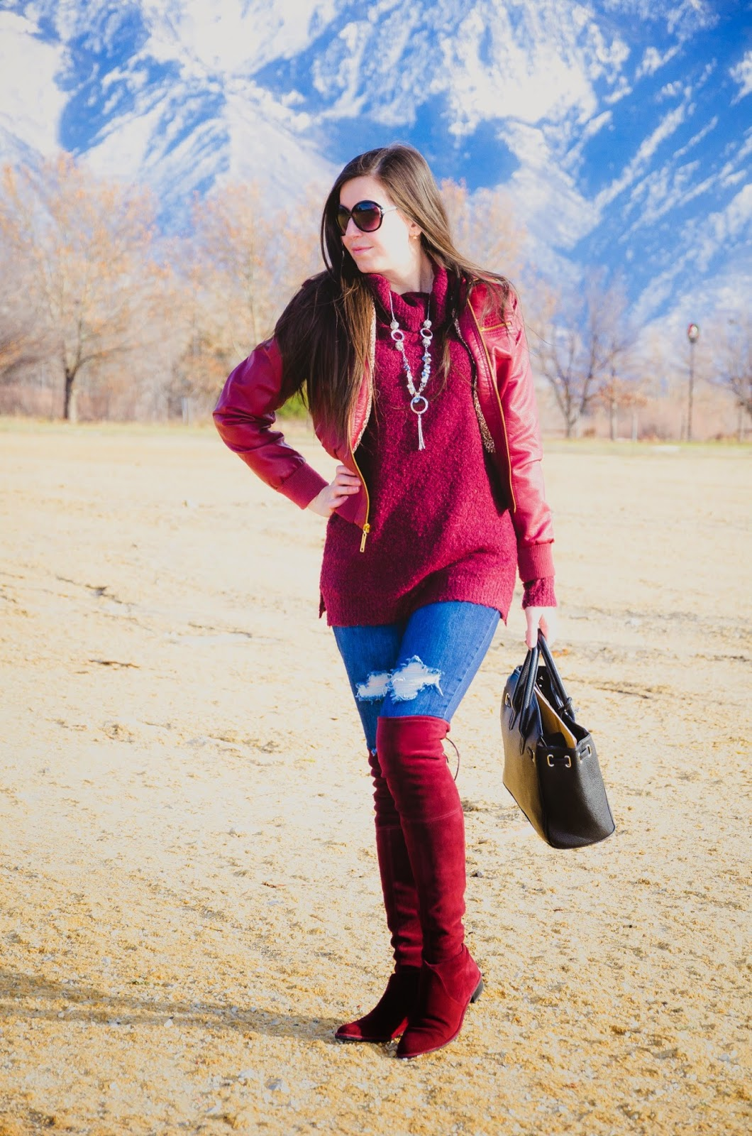 burgundy sweater, burgundy jacket, burgundy leather jacket, stewart weitzman boots, stewart weitzman, burgundy over the knee boots, black over the knee riding boots, burgundy boots, destroyed denim outfit,