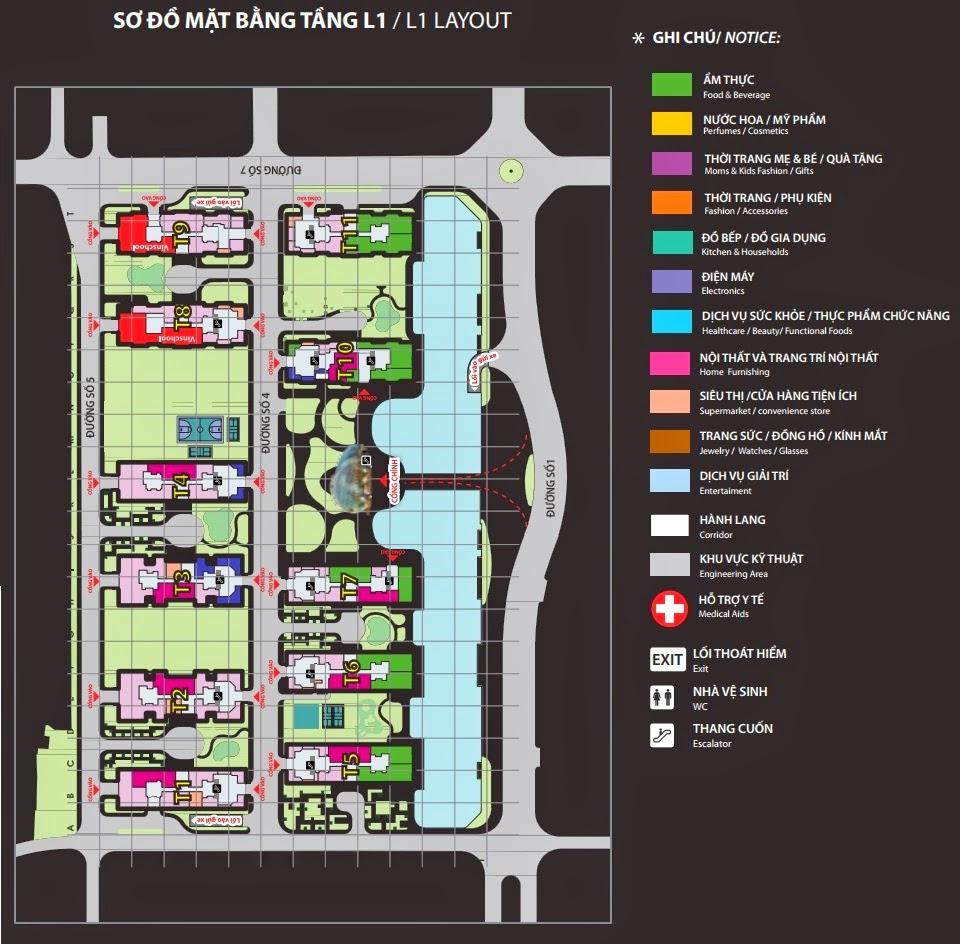 Mặt bằng tầng L1 trung tâm thương mại Vincom Mega Mall Times City