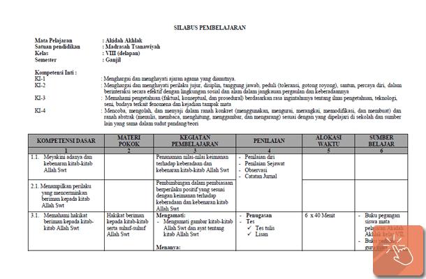 Silabus MTs Kurikulum 2013 Kelas 8 Mata Pelajaran PAI dan Bahasa Arab