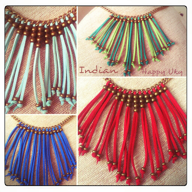 Collar Indian Happy Uky antelina colores verano  summer