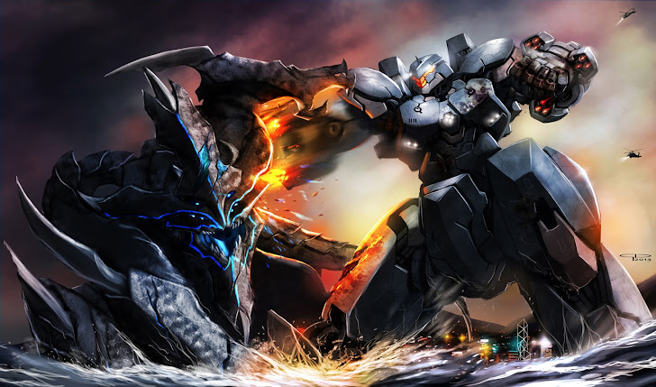Epic Pacific Rim Jaeger Mecha Vs Kaiju B45 HD Wallpaper