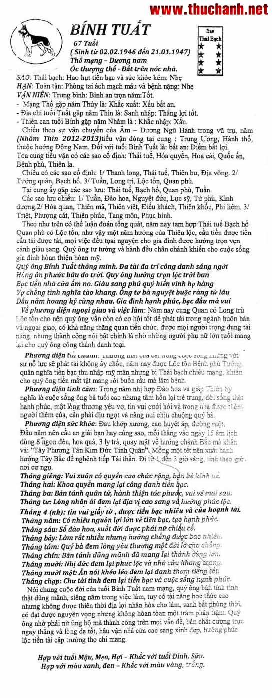Tử vi tuổi Bính Tuất nam mạng - Thái Ất tử vi 2012 Nhâm ...