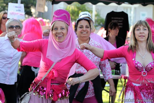 Melody de Burgh, Havelock North - pre-walk warm-up at Tremains 2015 Pink Fun Walk, Civic Square, Hastings, supporting Hawke's Bay Breat Cancer Trust. photograph