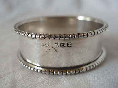 BEAD EDGE NAPKIN RING, STERLING SILVER, BIRMINGHAM 1924