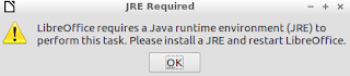 Java runtime environment required at libreoffice startup