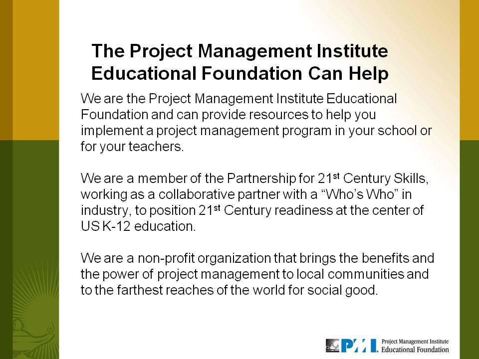 Project Management Project Managment For Youth By Pmi