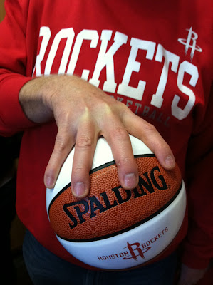 "Houston Rockets Basketball example of ""palm"" hand grip on Basketball"