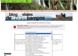 Menú de rutas por la Comunidad de Madrid en excursionesysenderismo.com