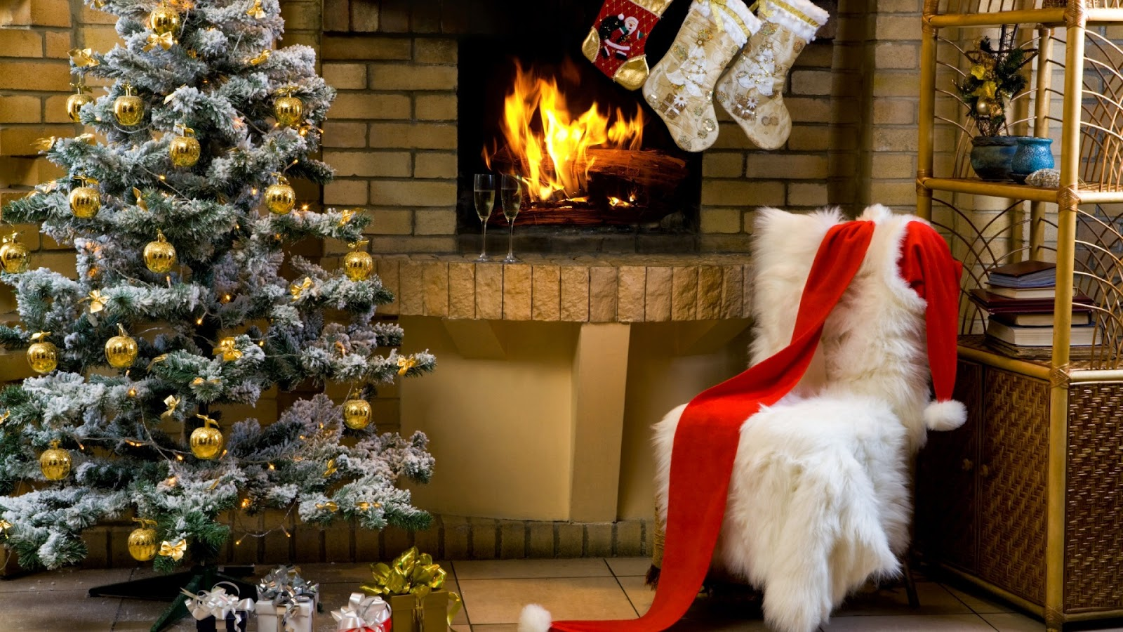 Snow-theme-Christmas-tree-decorated-with-golden-balls-near-fireplace-mantel-image.jpg