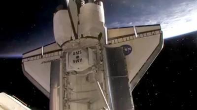AMS 2 inside the cargo bay, ready for installation. NASA 2011.