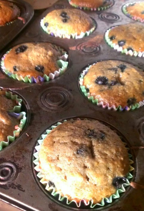 Wake Up Healthy Banana BlueBerry Muffins out of the oven