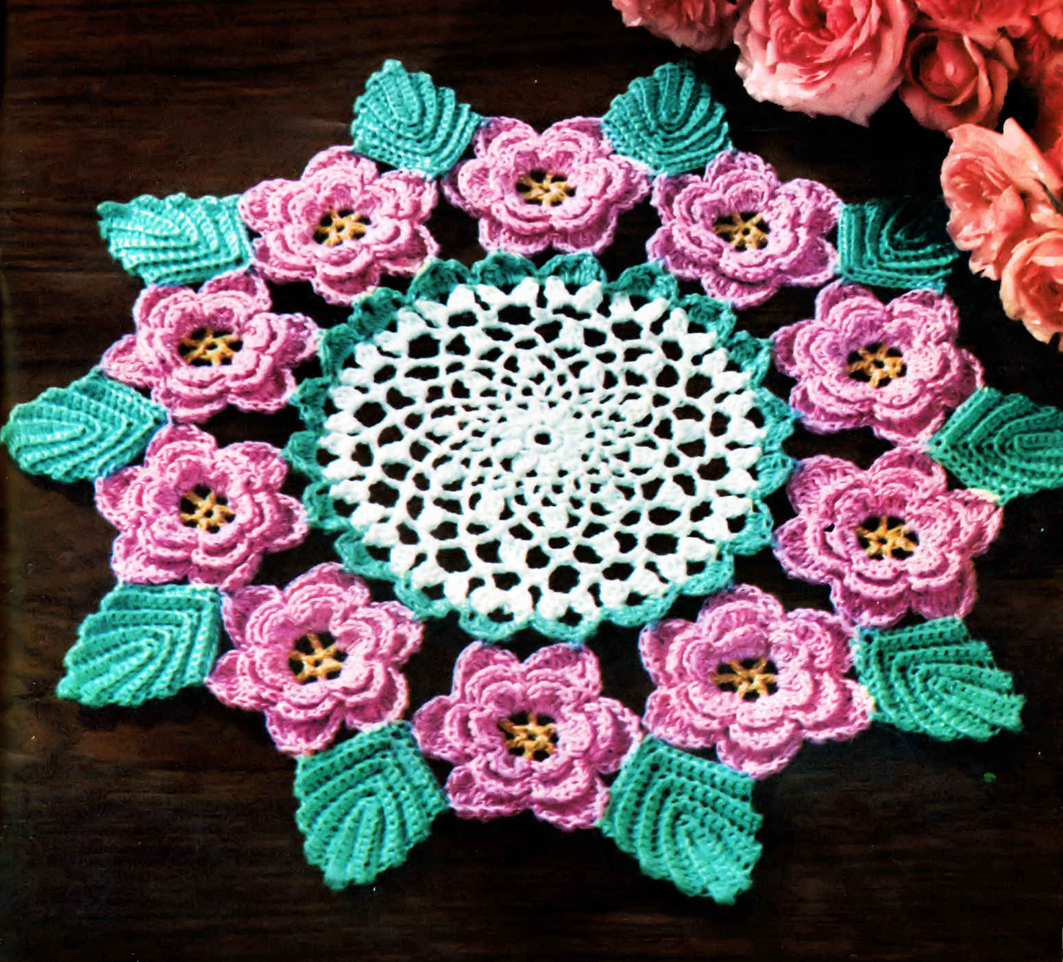 Crochet Filet Rose Square Doily Free Pattern - Associated Content
