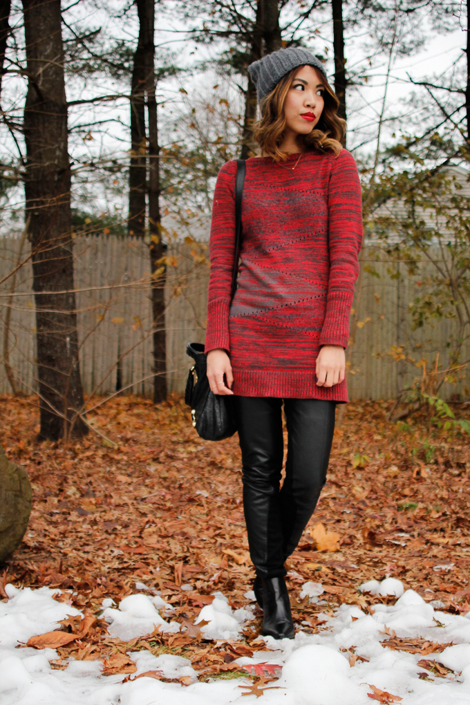 Armani Exchange sweater dress, Armani Exchange leather paneled pants, Zara Chelsea boots, Dogeared Circle necklace, beautybitten