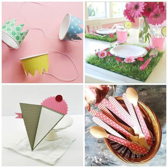 Invitaciones, cubiertos de madera, sombreros de papel, idea para mesa de fiesta