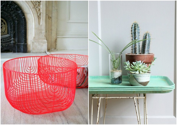 neon wire basket and vintage tray