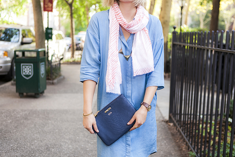 Brika CORAL ARASHI SHIBORI SCARF, COS chambray shirtdress, leather monogrammed Gigi New York clutch