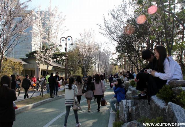 Coreanos paseando en el parque de Yeouido