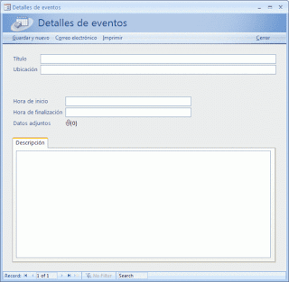 base de datos de eventos