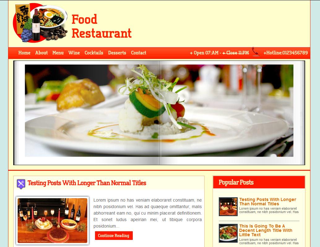 Food Blog Templates. food recipe blog website templates themes ...