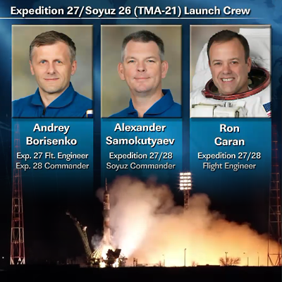 Expedition 27 to ISS: cosmonauts Andrey Borisenko (Commander of Mission) and Alexander Samokutyaev (Soyuz Commander), and NASA astronaut Ron Garan (Flight Engineer), 4 April 2011.