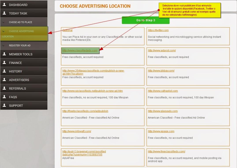pubblicare l'annuncio giornaliero in Ads Reward Daily - scegliere sito
