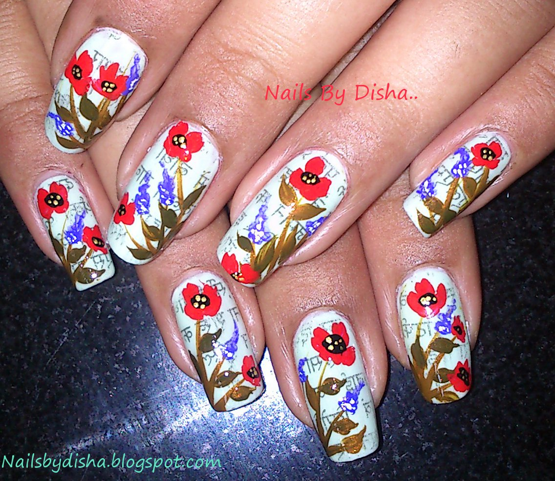Nail The Art News Paper Print With Flowers