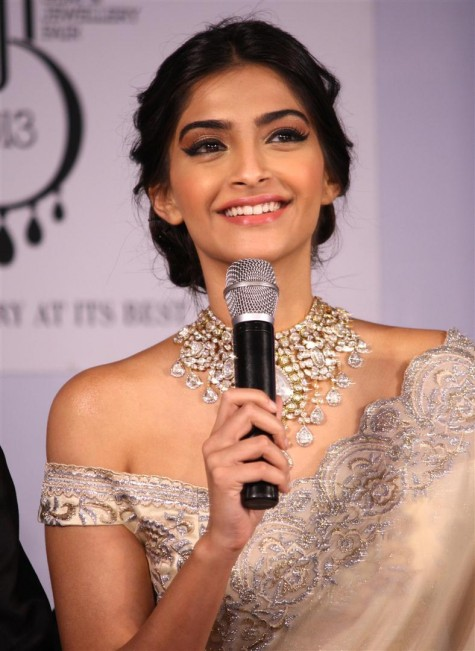 Bollywood Actress Sonam Kapoor Loose Updo Hairstyle Celebrity Hairstyles