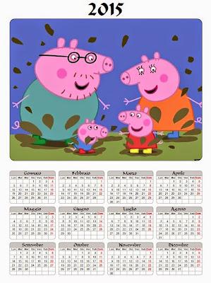 Calendario 2015 annuale duemilaquindici peppa pig