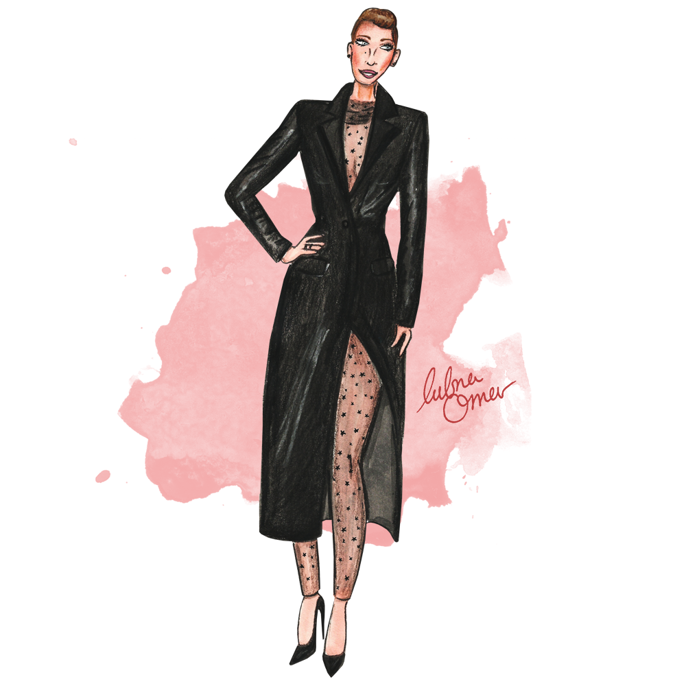 Blake Lively in Monique Lhuillier illustration by Lubna Omar