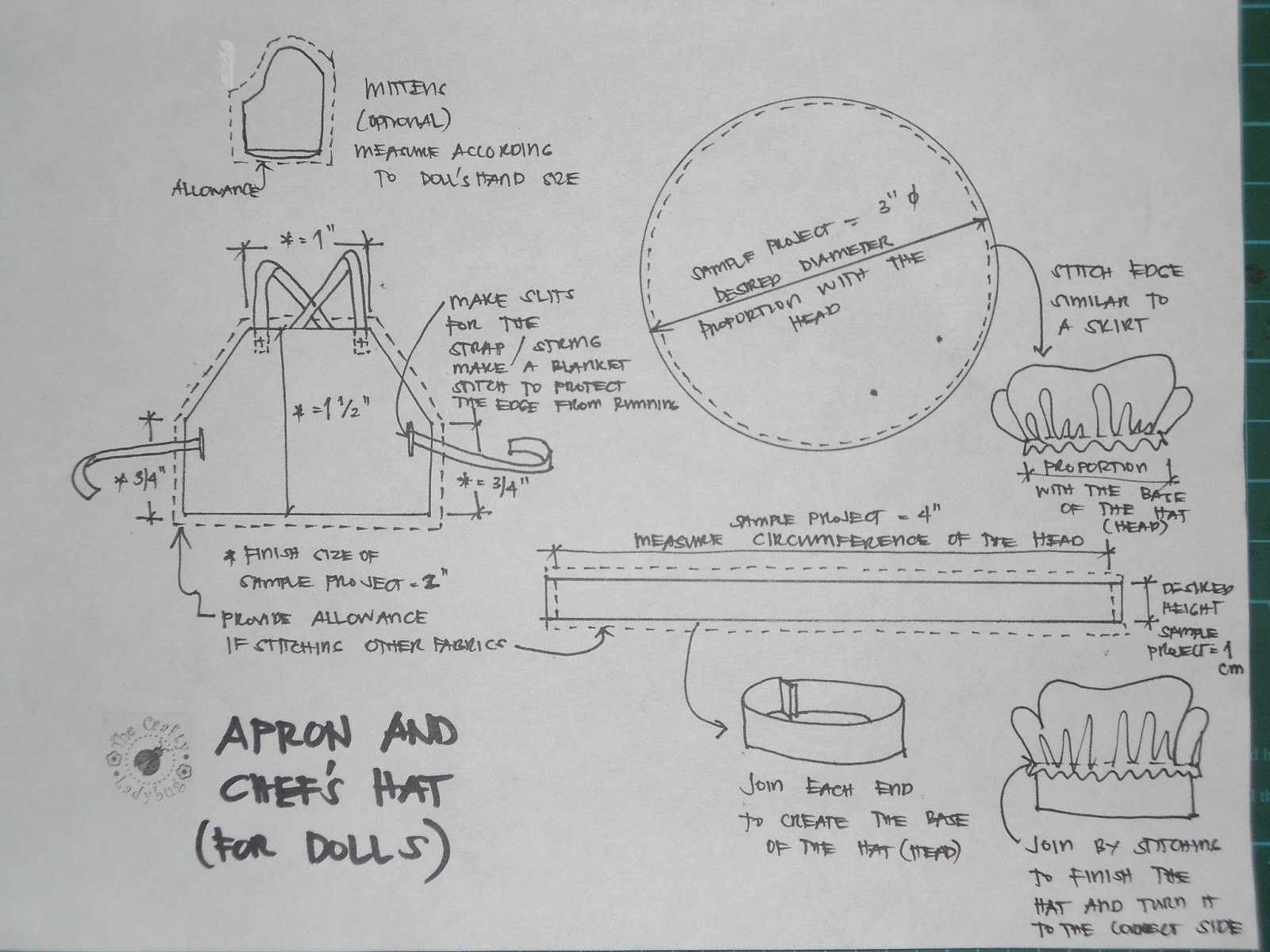 chef hat template printable - journey with the crafty ladybug dolls sewing an apron