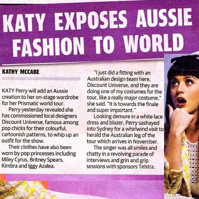 Fashion : Katy Perry will be wearing Melbourne label Discount Universe on her Prismatic world tour everyday like this