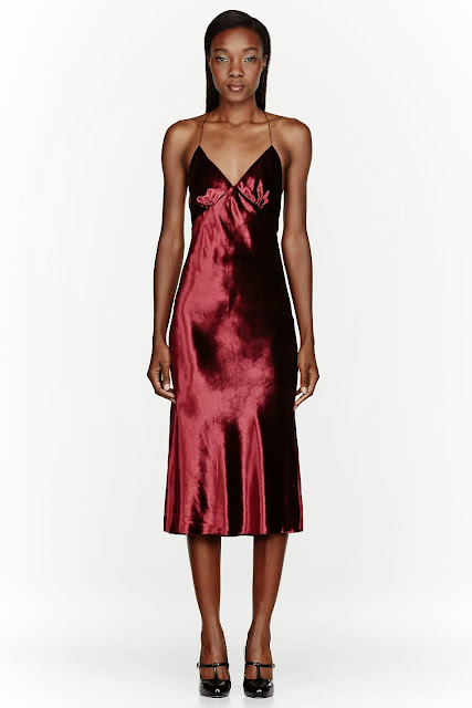 BURGUNDY VELVETEEN & SILK CROSSBACK DRESS