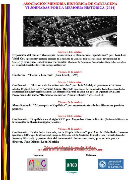 VI JORNADAS POR LA MEMORIA HISTÓRICA (2014)