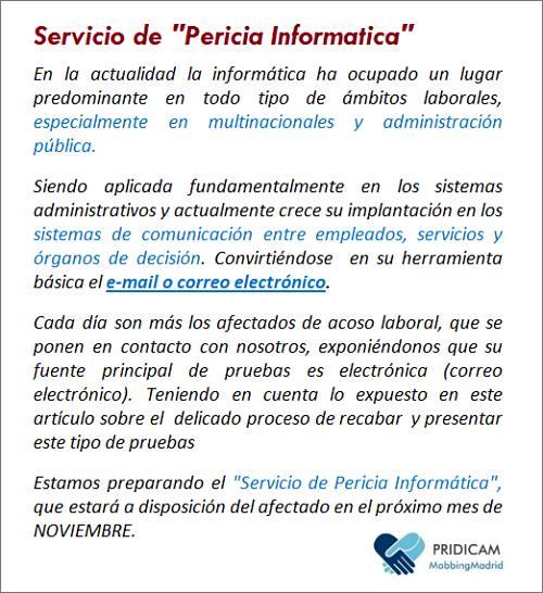 MobbingMadrid Servicio Pericia Informática
