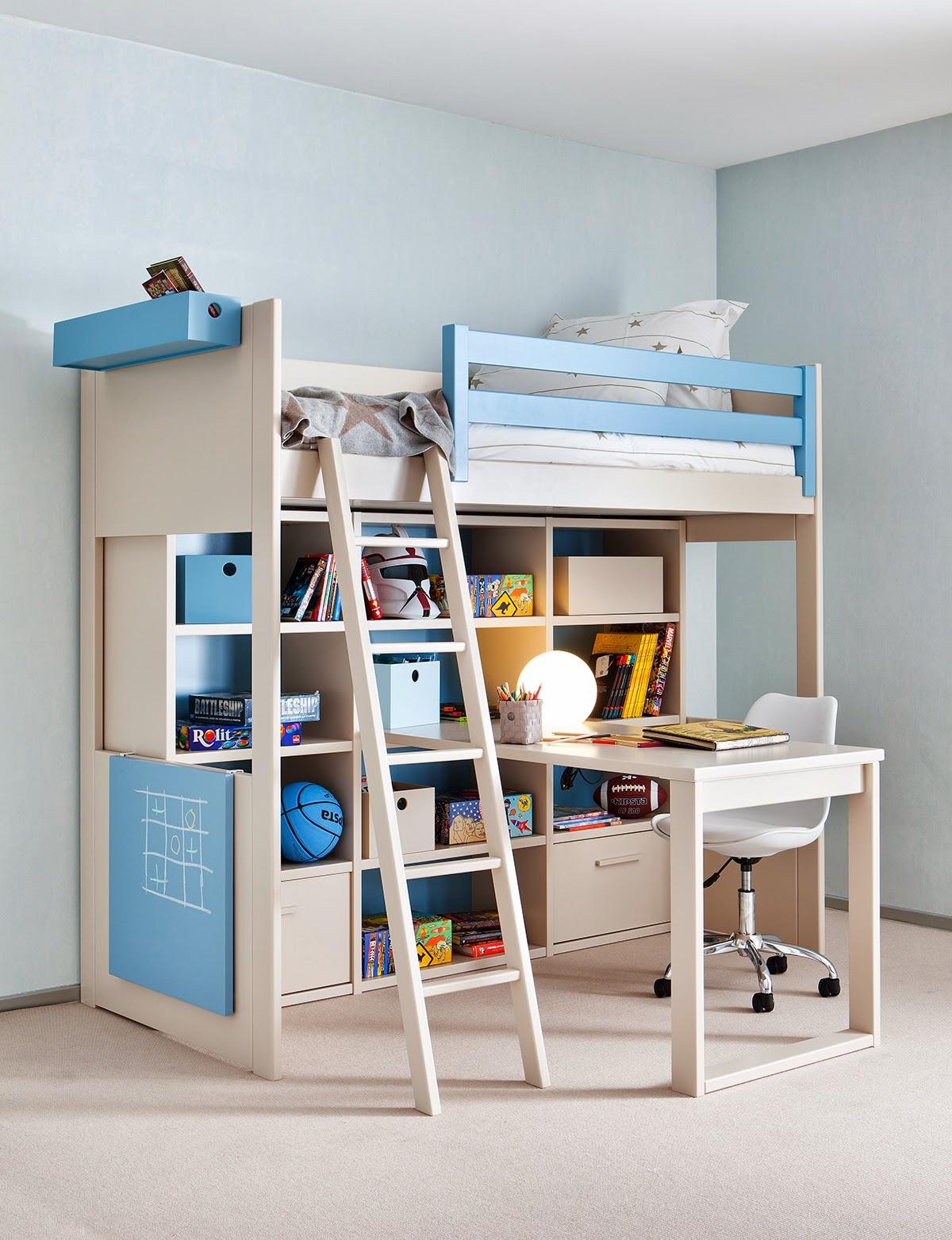 Cama alta con cama cruzada con 3 cajones - Mueble infantil madrid ...