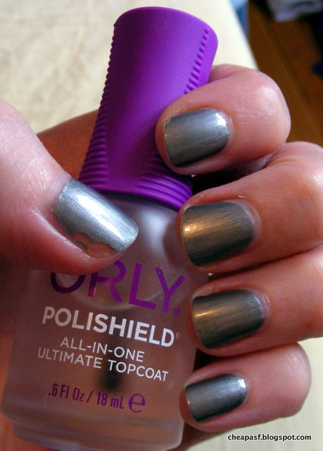 ULTA Scene Steel-er nail polish with Orly Polishield as topcoat