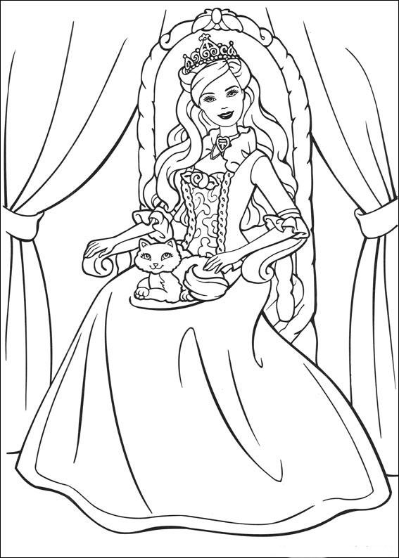Desenhos Para Colorir Barbie em vestidos de princesas