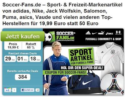 Soccer-Fans.de Gutschein im Wert von 19,99 Euro zum Preis von 50 Euro