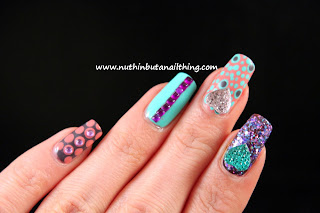 polka dot nail art bling glitter